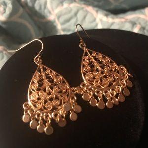 Gold Tone Filigree Chandelier Earrings